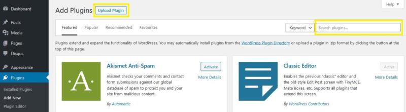 Adding a new WordPress plugin.