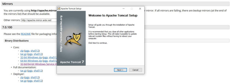 Downloading Apache Tomcat.