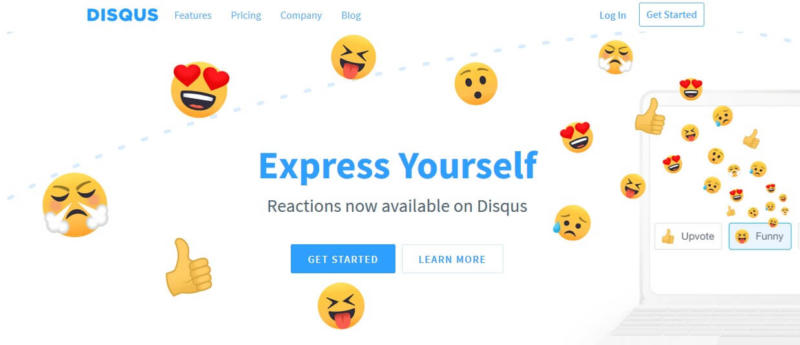 The Disqus homepage.
