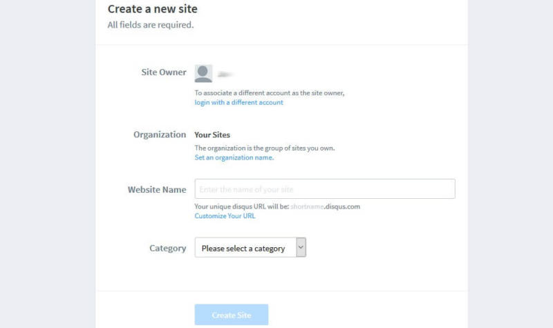 Registering your WordPress site with Disqus.