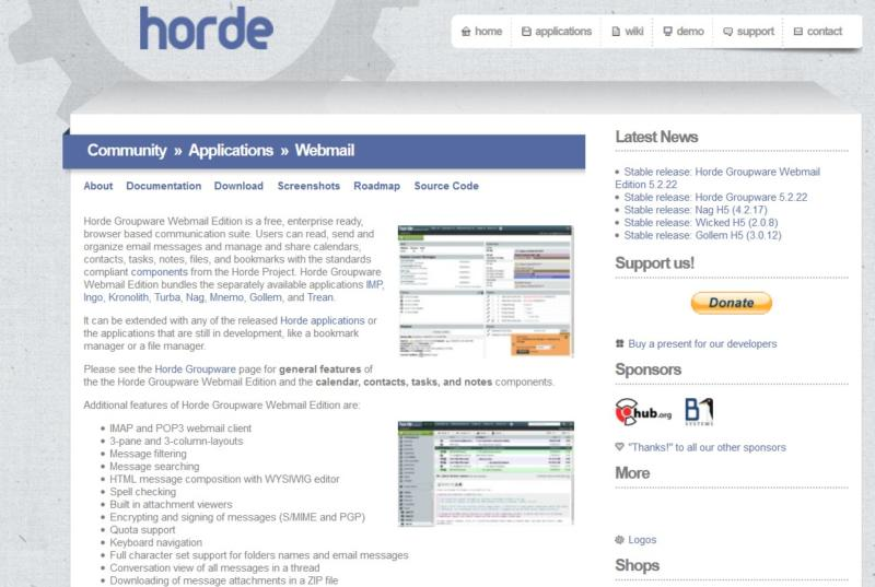 The Horde Webmail landing page.