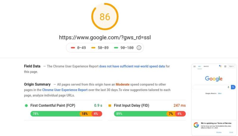 Results in Google PageSpeed Insights.