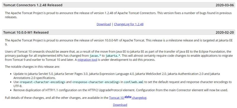 Various versions of Apache Tomcat.