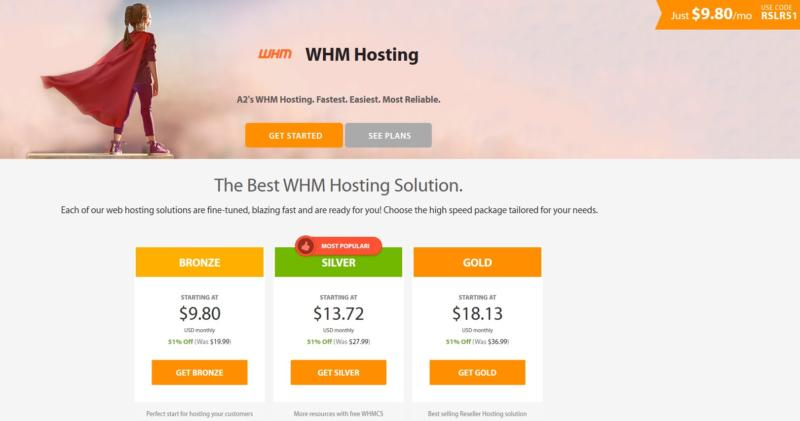 A2 Hosting's WHM hosting plans.