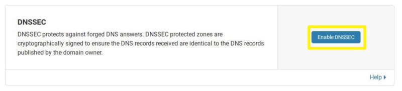Enabling DNS protection in Cloudflare.