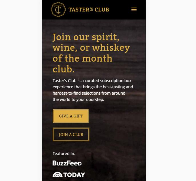 A landing page for Taster's Club.