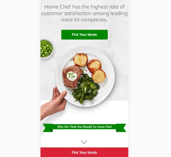 A landing page for Home Chef.