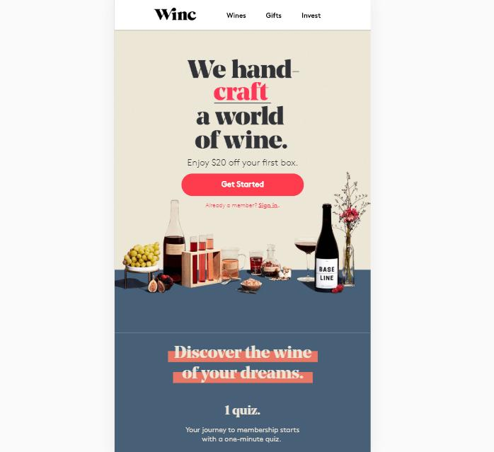 A landing page for Winc.