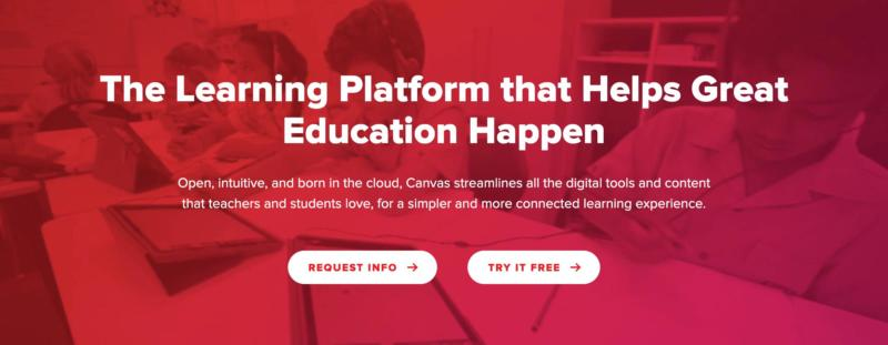 The Canvas LMS homepage.
