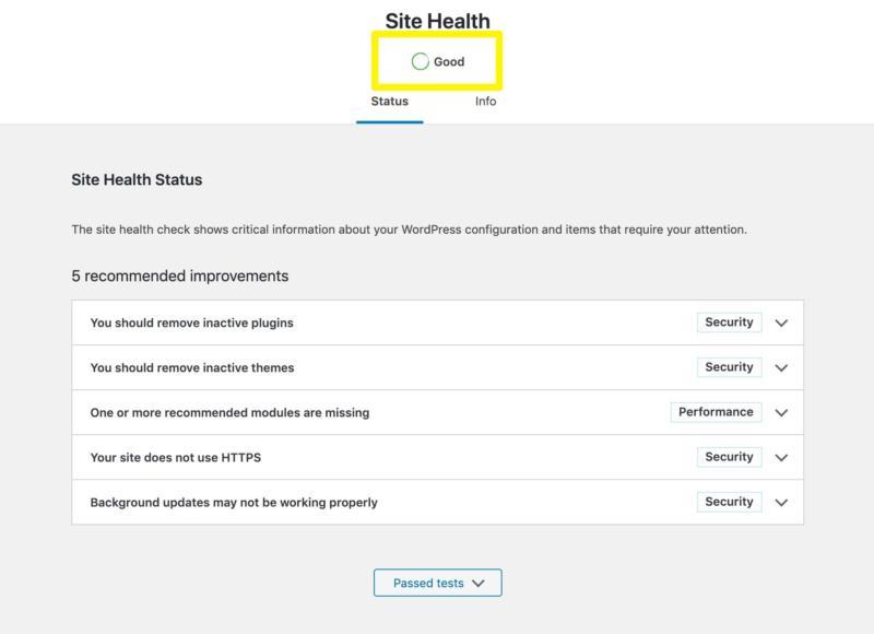 Site health score.