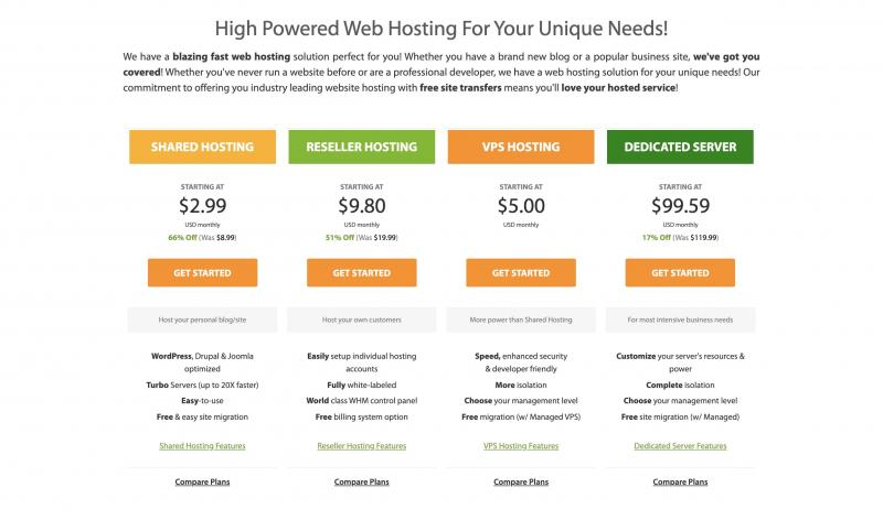An A2 Hosting pricing page, which uses white space for a clean and professional design.
