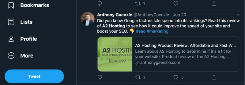 A tweet from A2 Hosting.