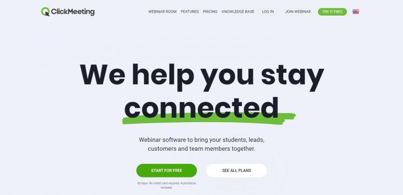 The ClickMeeting webinar software homepage.