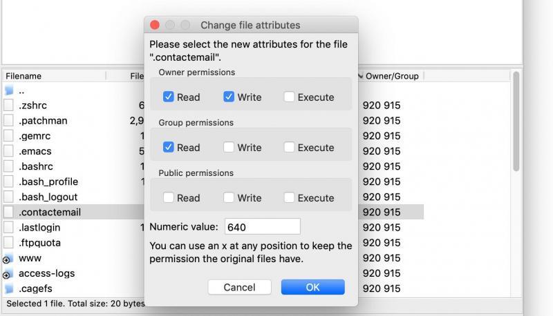 Editing file permissions via FTP.