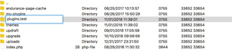 Renaming the plugins directory via FTP.