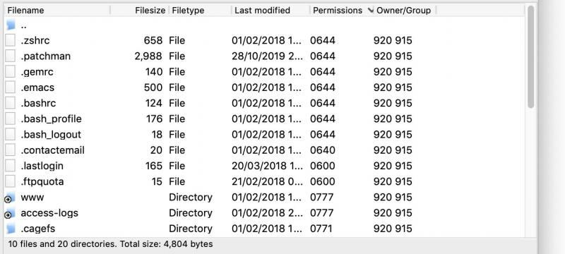 Viewing file permissions.
