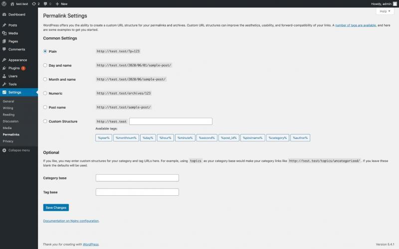 The WordPress permalink settings.