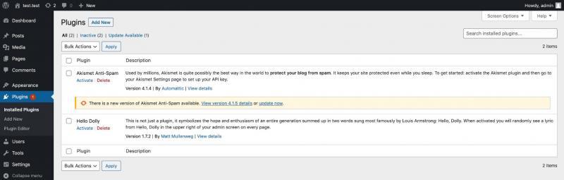 The WordPress dashboard plugins screen.