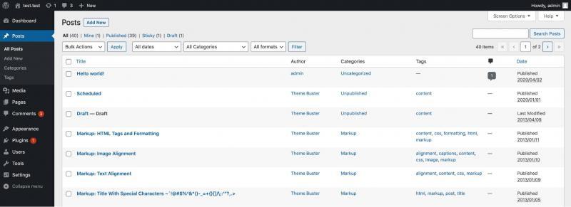 The WordPress posts screen.