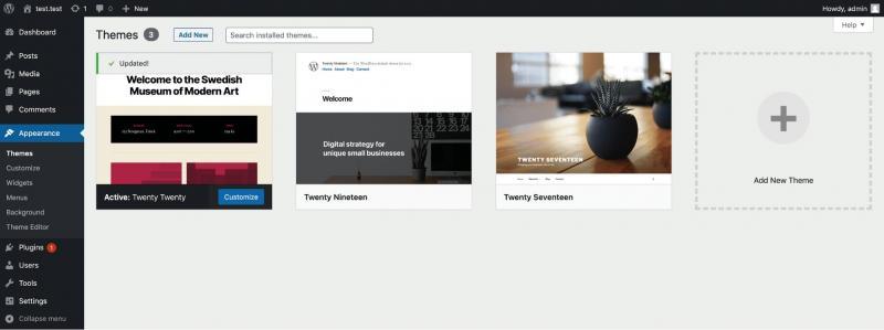 The WordPress dashboard themes screen.