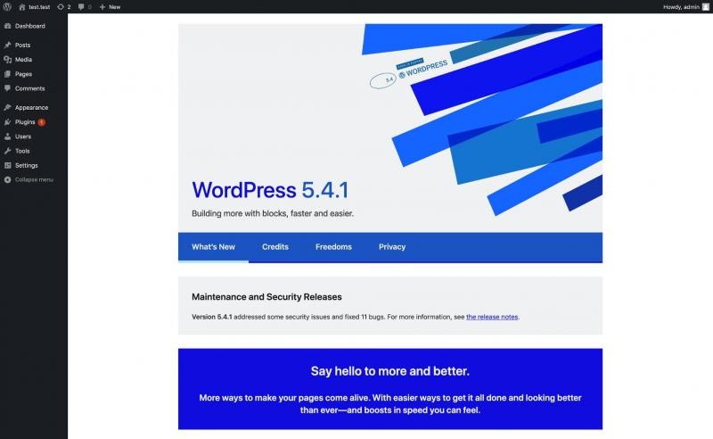 The welcome page for WordPress version 5.4.1.