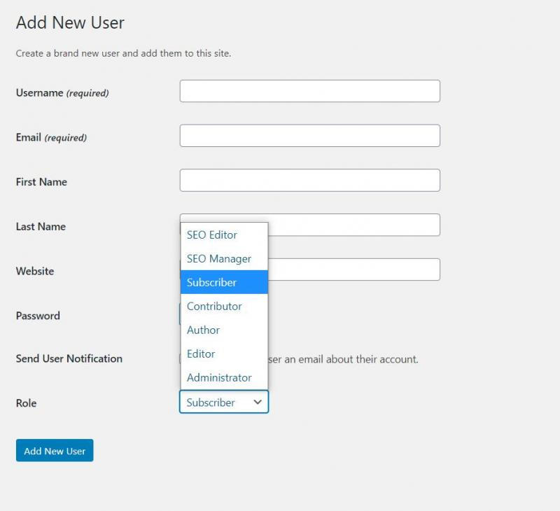 Adding a new user to a WordPress blog.