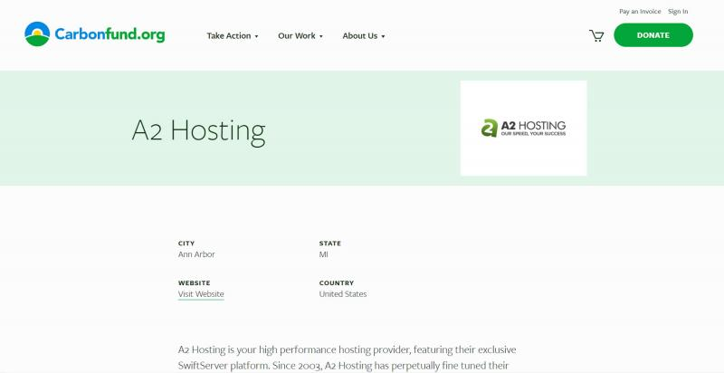 The A2 Hosting Carbonfund page.