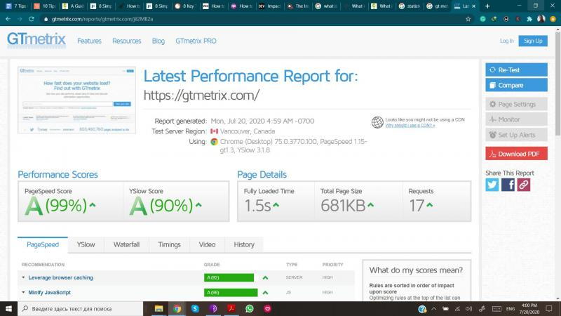 GTmetrix page speed test results.