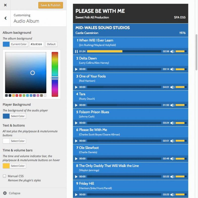 Audio Album color and style customization options