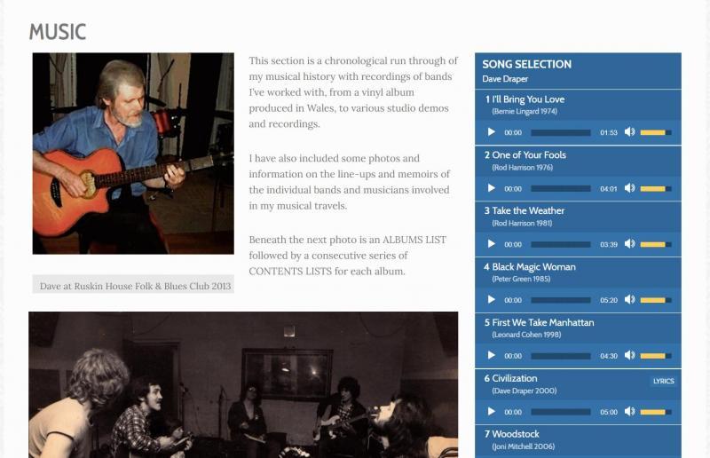 Dave Draper's music page