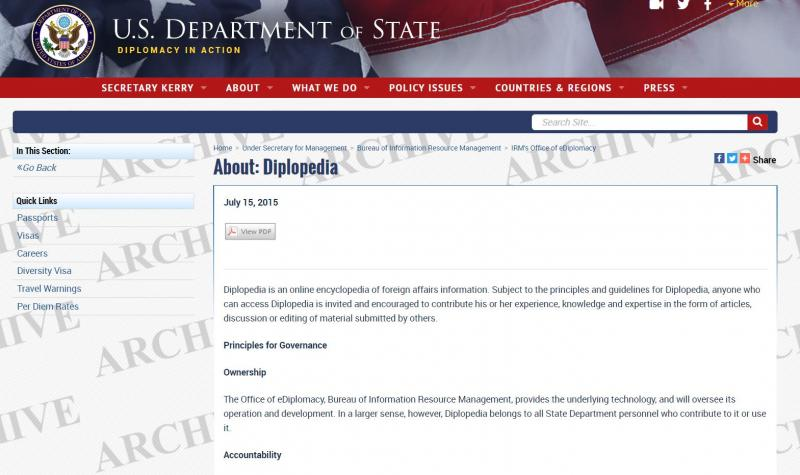 Diplopedia, the United States Department of State wiki website.