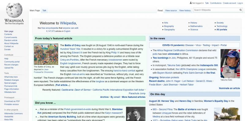 Wikipedia, an example of a wiki website.
