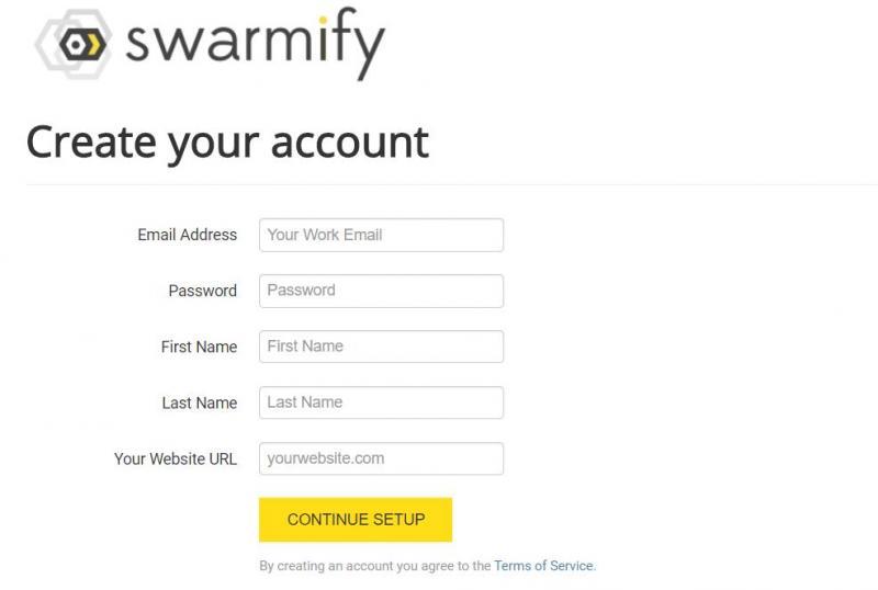 Creating a Swarmify account.