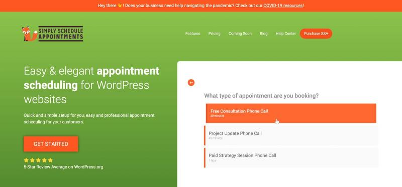 The Simply Schedule Appointments scheduling plugin.