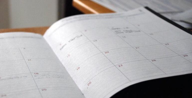 An open schedule book.