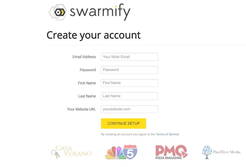 signup for swarmify