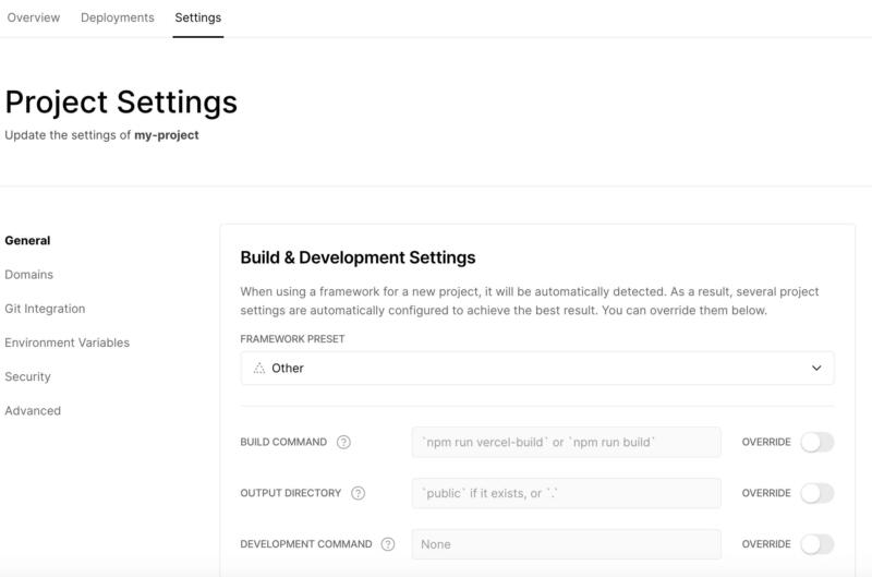 "The Vercel ""Project Settings"" screen."
