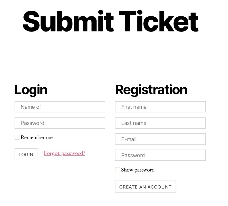 A ticketing system, created using the Awesome Support WordPress plugin.