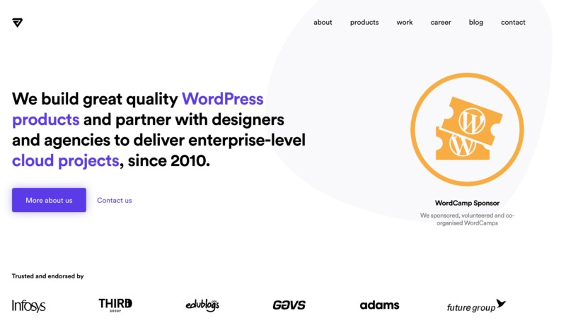 A web design and development WordPress site, created with the Frontity framework.