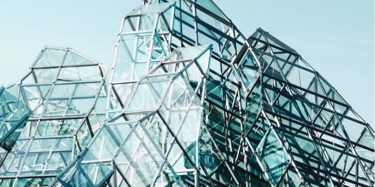 A complex building of windows.