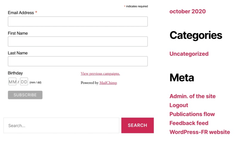 A signup form, created using email marketing solution Mailchimp.
