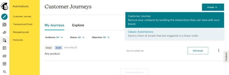 Mailchimp's Customer Journeys menu.