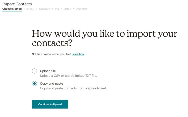 Mailchimp's email marketing dashoard.