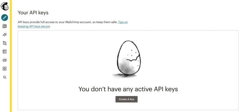 Mailchimp's API dashboard.