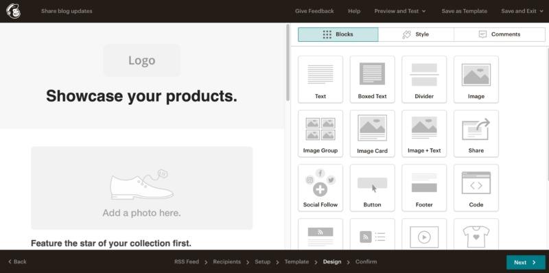 Mailchimp's layout editor.