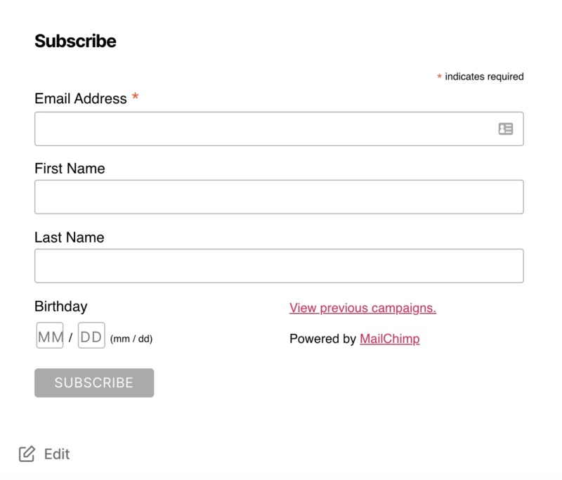 An email subscription form, created using Mailchimp.