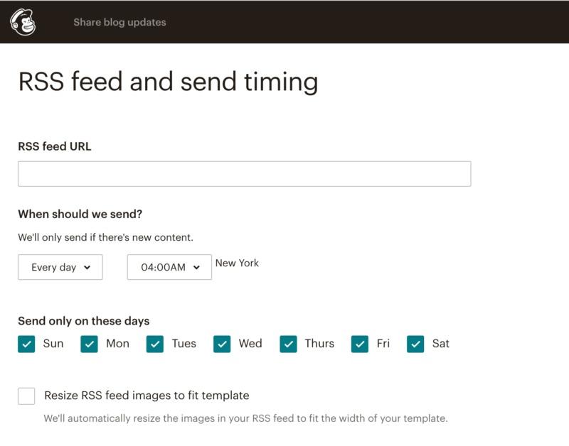 Mailchimp's RSS schedule.