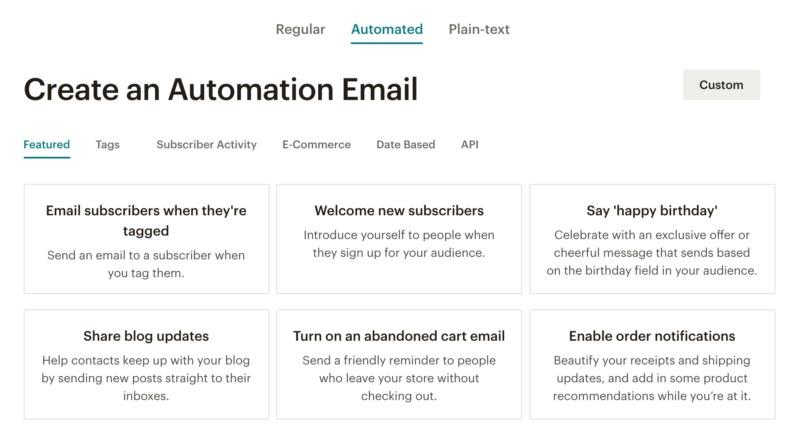 Mailchimp's email automation templates.