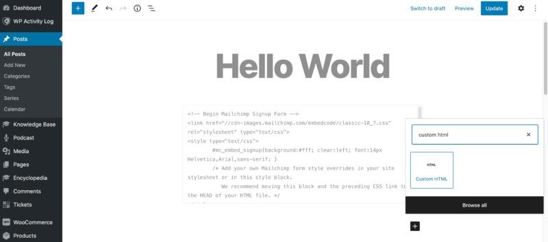 WordPress' block editor.