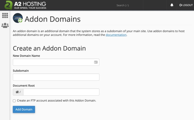 Adding more domains with cPanel.
